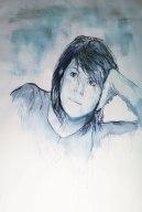 Autoportrait, aquarelle, 2mx1x5m