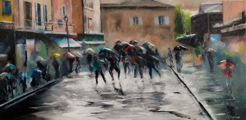 Danse sous la pluie, 120x60cm, huile, 2019